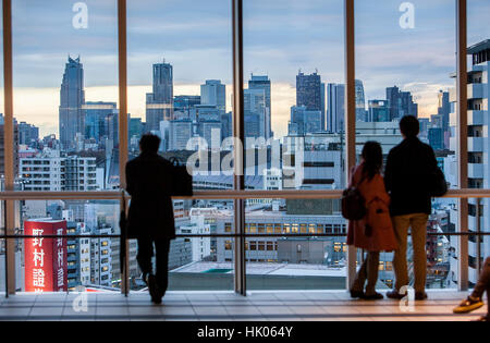 Townscape, View of Shinjuku, from a skyscraper of Shibuya Tokyo, Japan - Stock Photo