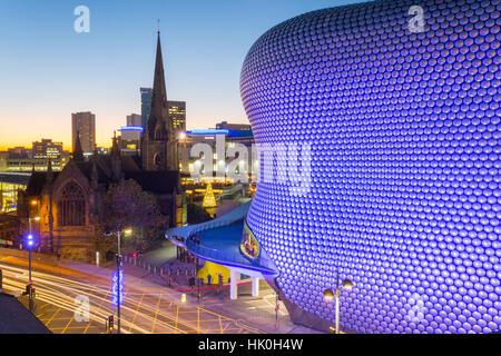 Bullring and Selfridges at dusk, Birmingham, West Midlands, England, United Kingdom - Stock Photo