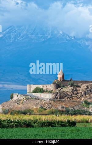Khor Virap Monastery and Apostolic church at the foot of Mount Ararat, Ararat Province, Armenia, Caucasus - Stock Photo