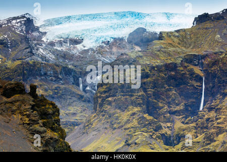 Mountains below the Vatnajokull glacier near Hofn, Iceland, Polar Regions - Stock Photo