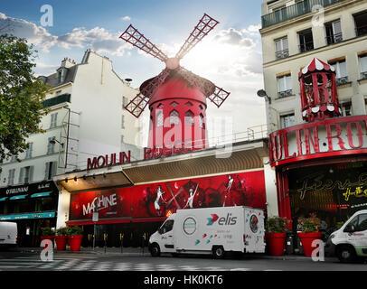 PARIS, FRANCE - AUGUST 24, 2016 : Nightclub Moulin Rouge in Paris at sunrise, France - Stock Photo