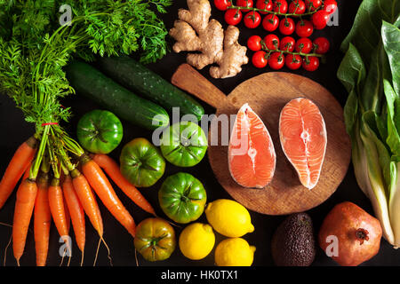 vegetables and fish healthy food background - Stock Photo