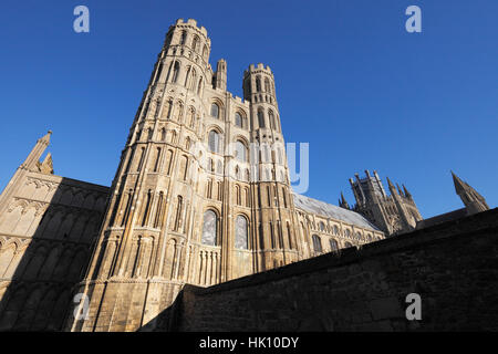 Ely Cathedral, the South West transept and the Octagon visible in the background. - Stock Photo