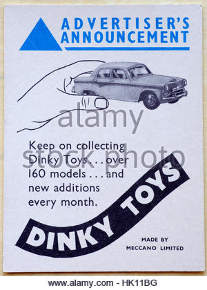 Dinky Toys, original vintage advertising circa late 1950s - Stock Photo
