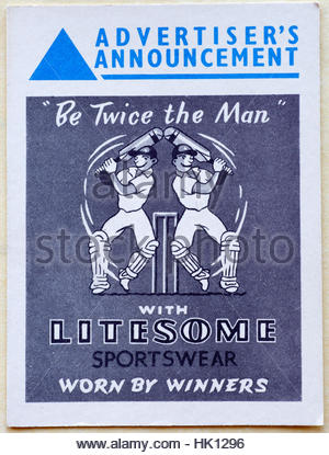 Litesome Sportswear, original vintage advertising circa late 1950s - Stock Photo