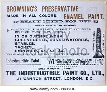 Browning's preservative, original vintage advertising from circa 1900 - Stock Photo