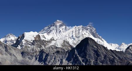 Mount Everest and surrounding peaks viewed from Gokyo Ri - Stock Photo