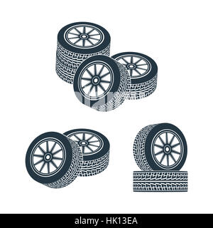 Wheels for cars with a tread pattern. Photo illustration. - Stock Photo