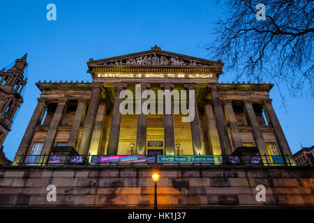 Martin Creed neon message on the Harris Museum and art gallery in Preston - Stock Photo