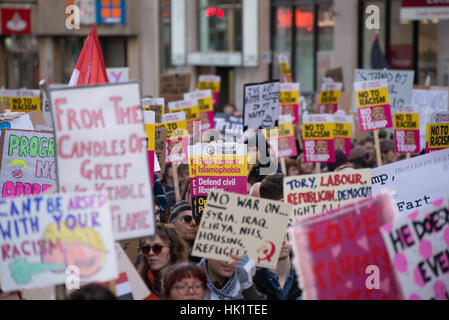Manchester, UK. 4th Feb, 2017. Placards at an anti-Trump 'Muslim Ban' demonstration in Manchester, England. The - Stock Photo