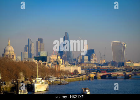 A view of the River Thames and London's ever-changing skyline - Stock Photo