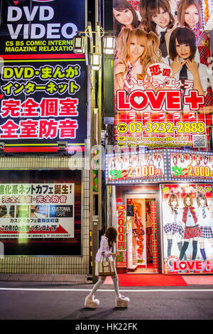 Townscape, Kabukicho Entertainment District at Shinjuku,Tokyo, Japan - Stock Photo