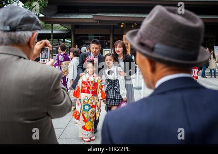 Shichi-go-san ritual, in Sanctuary of Meiji Jingu, Tokyo, Japan - Stock Photo