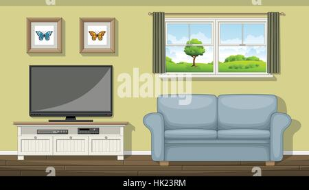Illustration of a classic living room - Stock Photo