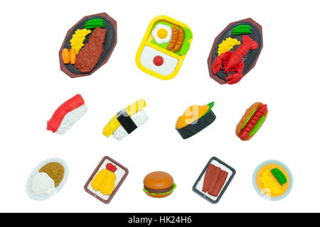 American And Japanese Food Rubber-Toy Isolated On White - Stock Photo