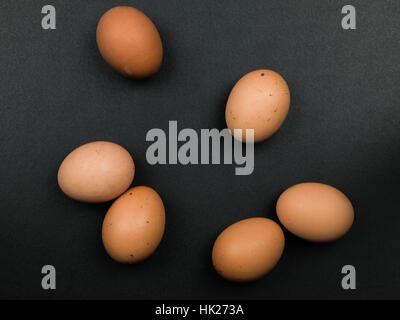 Six Fresh Uncooked Brown Hens Eggs - Stock Photo