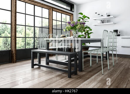 Modern dining room in minimalist interior with chairs and benches near table with flowers, big windows and white - Stock Photo