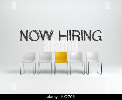 Empty white and yellow chairs on white background with NOW HIRING sign in center. Business concept. 3d rendering. - Stock Photo