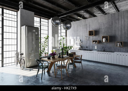 Interior of spacious modern apartment with dining table, chairs and bicycle leaning by tall windows - Stock Photo