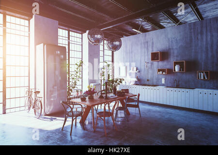 Interior of spacious modern apartment with dining table, chairs and bicycle leaning by tall windows with sun flare - Stock Photo