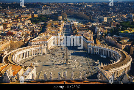 View of Rome from the Dome of St. Peter's Basilica, Vatican, Rome, Italy - Stock Photo