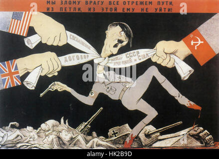 SOVIET ANTI-FACIST POSTER 1942. 'The Big Three will tie the enemy in knots' designed by the Kukryniksy group of - Stock Photo