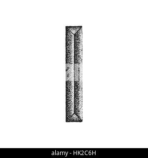 vector black monochrome vintage ink hand drawn dot work retro tattoo style engraving volumetric letter I isolated - Stock Photo