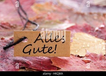 a autumn label with the german words Alles Gute on it which means best wishes - Stock Photo