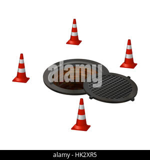 open hatch with four cones. Photo illustration. - Stock Photo