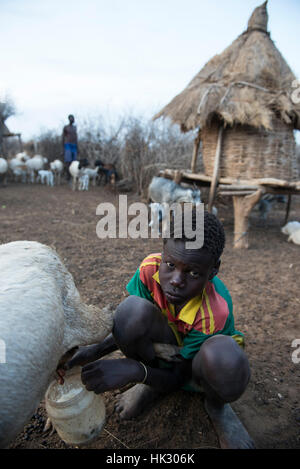 ETHIOPIA, Southern Nations, Lower Omo valley, Kangaten, village Kakuta, Nyangatom tribe / AETHIOPIEN, Omo Tal, Kangaten, - Stock Photo