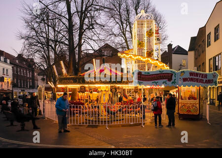 A winter attraction in KIngs Square, York, England, UK - Stock Photo