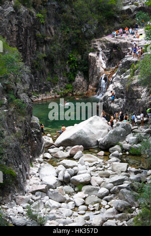 August 14th, 2011, The Peneda-Geres National Park, Geres, Portugal - people enjoying a summer day in the water of - Stock Photo