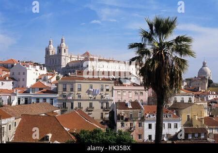 Monastery of São Vicente de Fora dominating the historic Alfama district, Lisbon, Portugal - Stock Photo