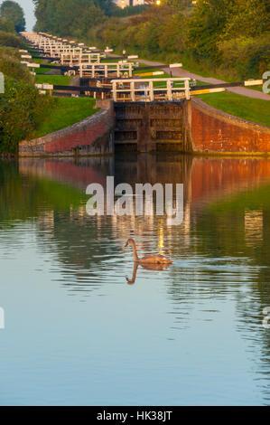 Caen Hill Locks at Devizes wiltshire - Stock Photo
