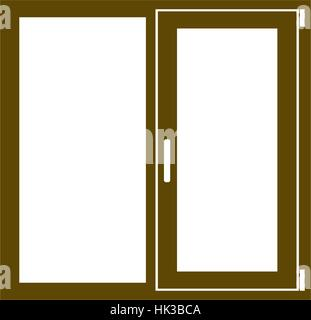 Flat paper cut style icon of modern window. Vector illustration - Stock Photo