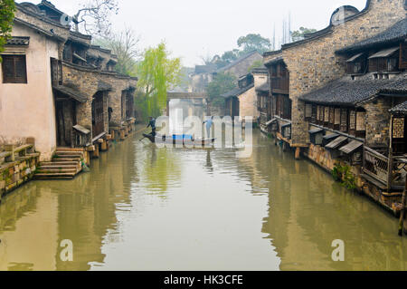 Canal Sweepers in Boat - Wuzhen, China - Stock Photo
