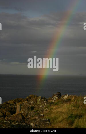 An amazing double rainbow over Cramond Island, Edinburgh, Scotland - Stock Photo