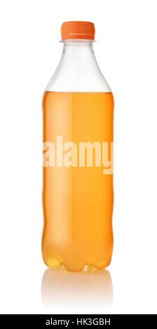 Small plastic bottle of orange soda isolated on white - Stock Photo