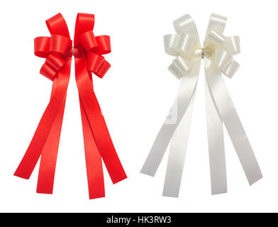 Red and white bow tale glossy ribbon, christmas, reward, prize, award concept icon or symbol decorations, isolation - Stock Photo