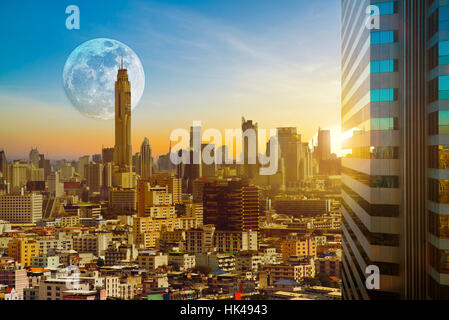 Bangkok cityscape on twilight evening backlit sunset with the super moon background, Hyperreal, Business city concept. - Stock Photo