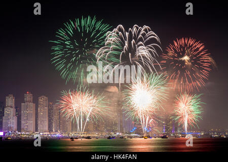 45th UAE National Day celebration fireworks in Dubai Marina - Stock Photo