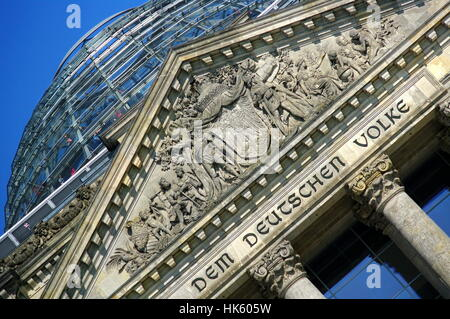 glass dome of the reichstag in berlin - Stock Photo