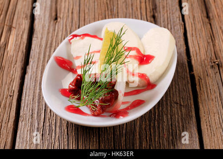 food, aliment, closeup, wood, plate, sauce, vegetable, gourmet, cheese, - Stock Photo