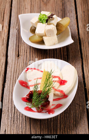 still life, food, aliment, wood, plate, sauce, vegetable, gourmet, cheese, - Stock Photo