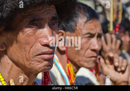 There is an exiting mix of tribal people and their customs to experience at Hornbill-Festival in Kohima every year - Stock Photo