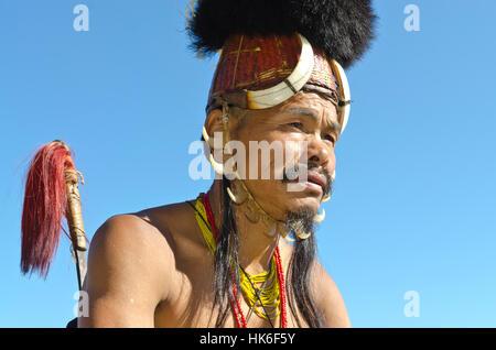 Konyak-Warriors fully decorated at Hornbill-Festival - Stock Photo