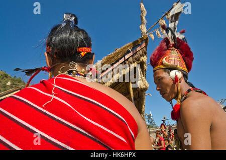 Phom-Warriors fully decorated at Hornbill-Festival - Stock Photo