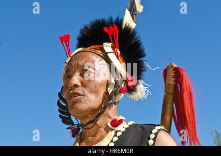 Khamnungma-Warrior fully decorated at Hornbill-Festival - Stock Photo