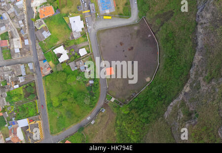 Aerial City View With Crossroads Of Banos De Agua Santa Tungurahua Province In The Daylight South America - Stock Photo