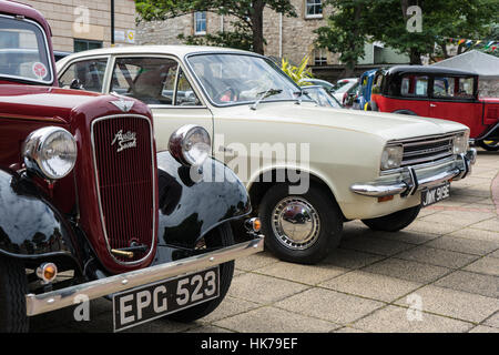 A Vauxhall Viva and Austin Seven on display at the Prestatyn Flower Show - Stock Photo